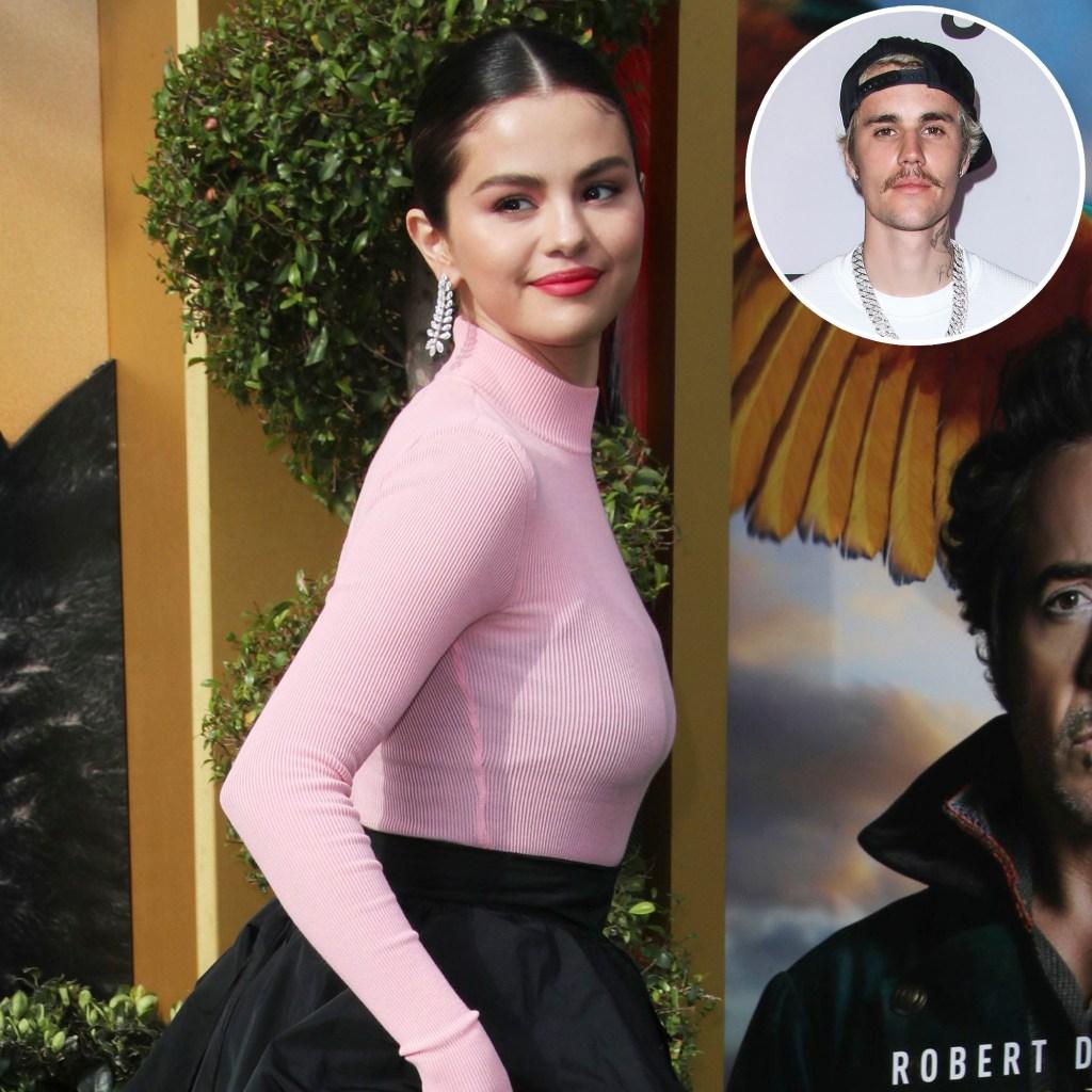 Inset Photo of Justin Bieber Over Photo of Selena Gomez