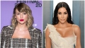 Taylor Swift Smiles in Plaid Jumpsuit and Matching Jacket With Red Lip in Split Image With Kim Kardashian in Tan Gown at Vanity Fair Oscars Afterparty