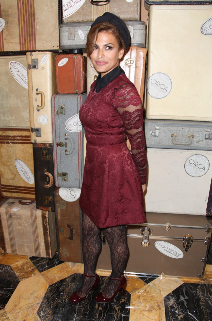 Eva Mendes Smiles in Maroon Dress and Black Head Band at New York and Company Show