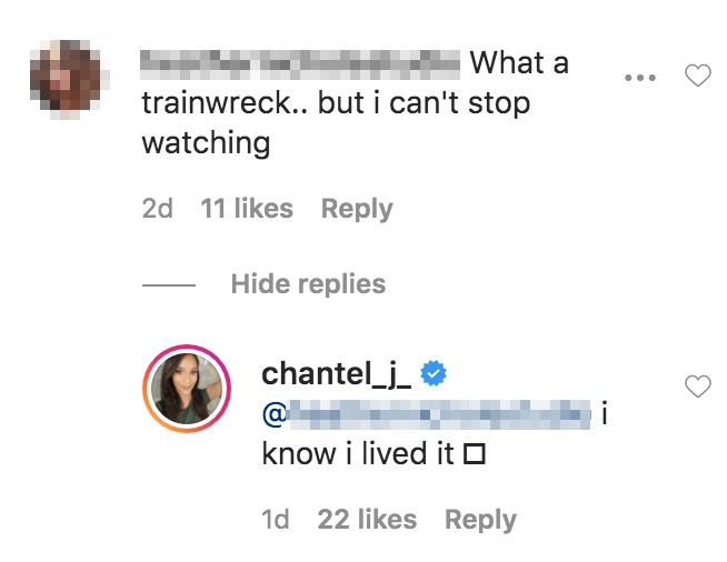 Chantel Trainwreck Comment