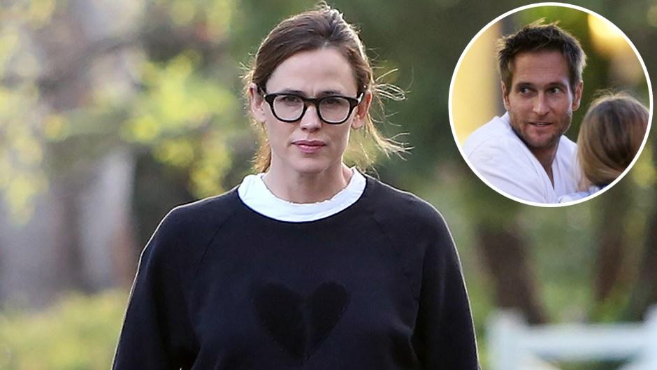 Inset Photo of John Miller Over Photo of Jennifer Garner Walking