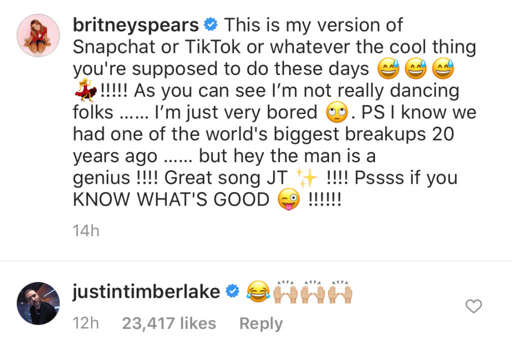 Justin Timberlake Comments on Britney Spears Dancing to His Song