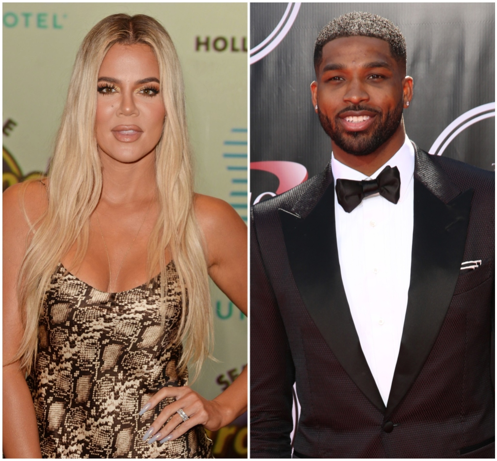 Khloe Kardashian Smiles in Silk Patterned Dress Tristan Thompson Smiles in Black Tuxedo