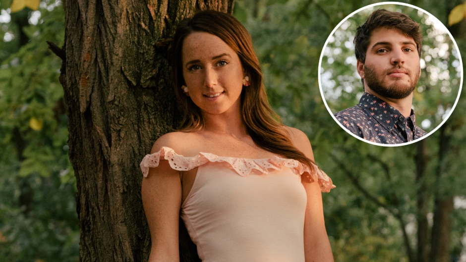 Inset Photo of Derek Sherman Over Photo of Katie Conrad