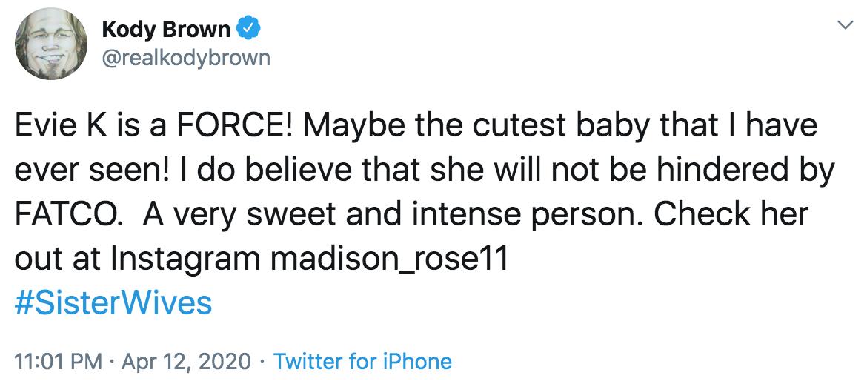 Kody Brown Tweet About Evie