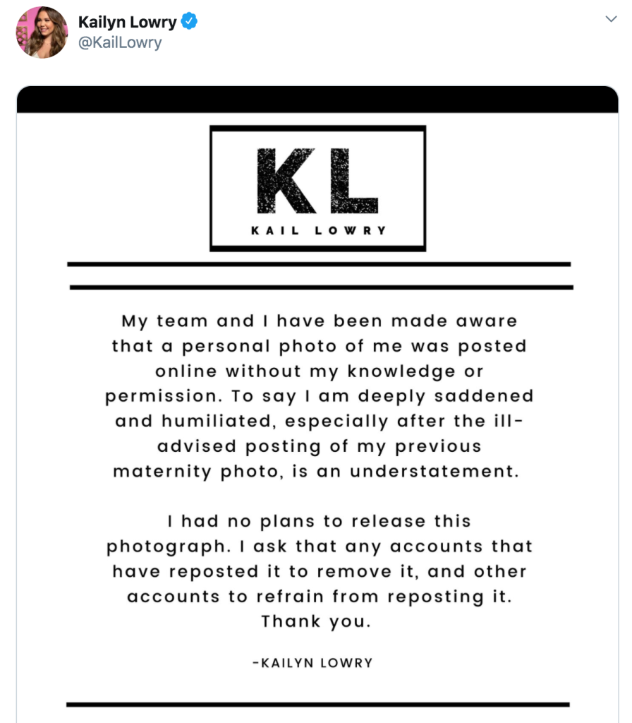 Kailyn Lowry Twitter Statement About Photo Leak