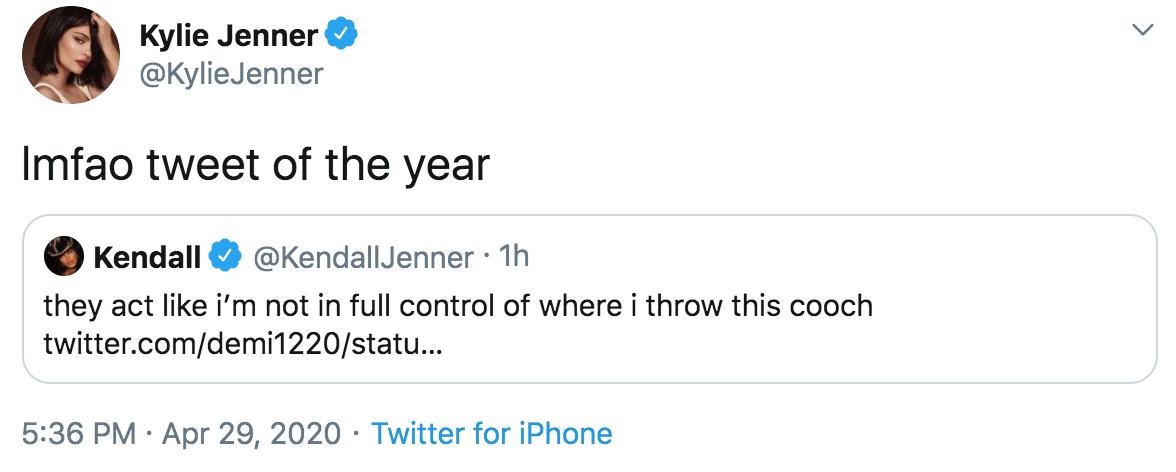Kendall Jenner Tweet Kylie Response