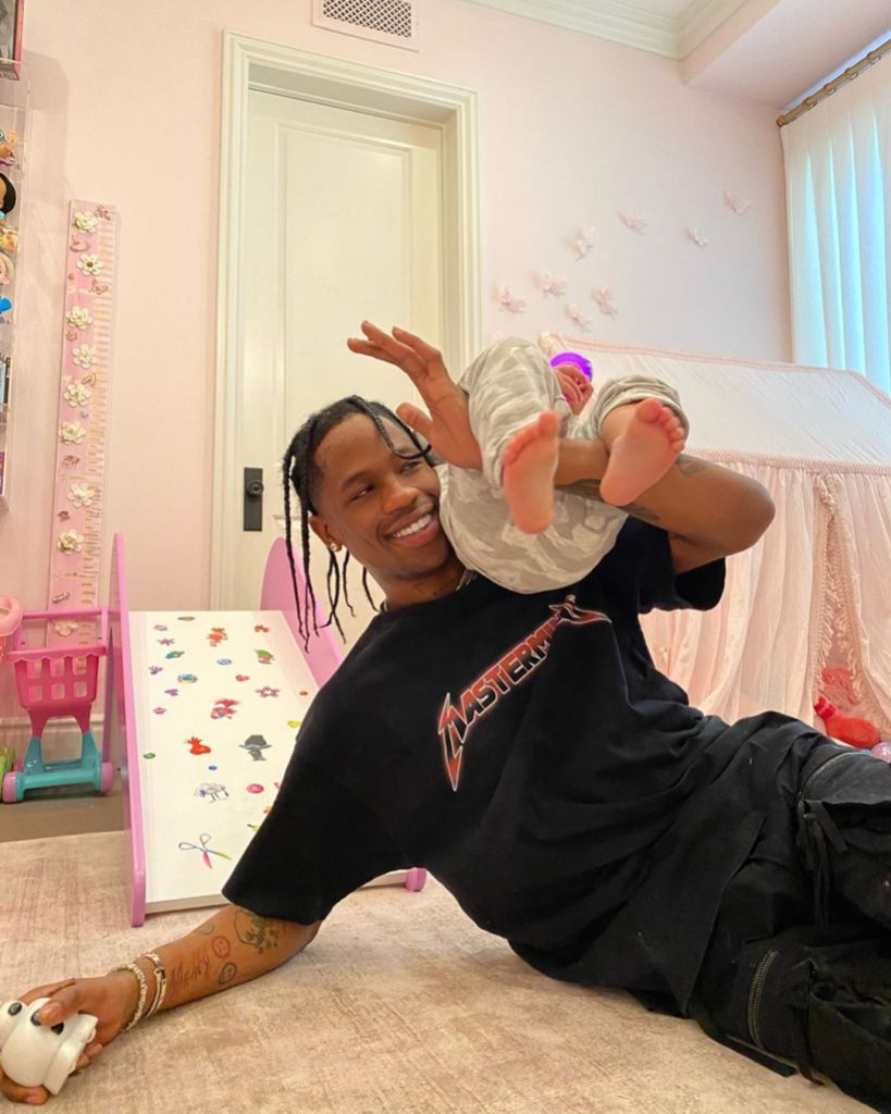 Travis Scott Plays With Daughter Stormi Webster in Kylie Jenner Birthday Post