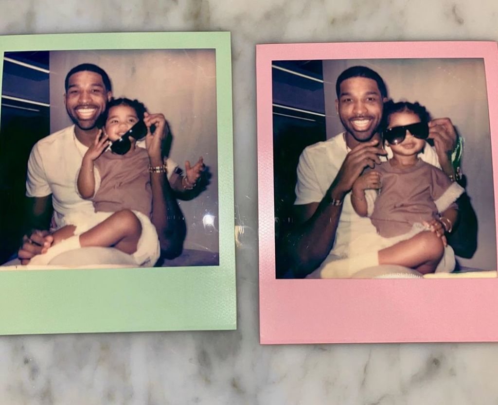 Two Polaroids of Tristan Thompson and True Smiling
