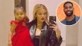 Inset Photo of Tristan Thompson Over Mirror Selfie of Khloe Kardashian and True