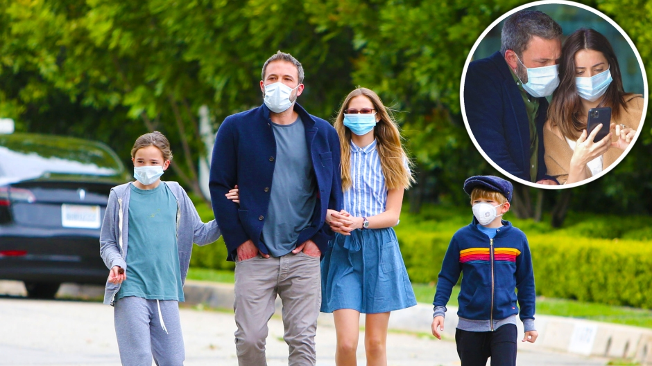 ben affleck takes kids on a walk, goes on donut run with ana de armas