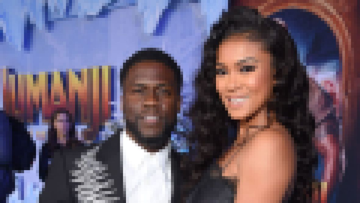 Kevin Hart Wears Bedazzled Black Suit with Wife Eniko Hart in Black Two Piece Ruffled Dress