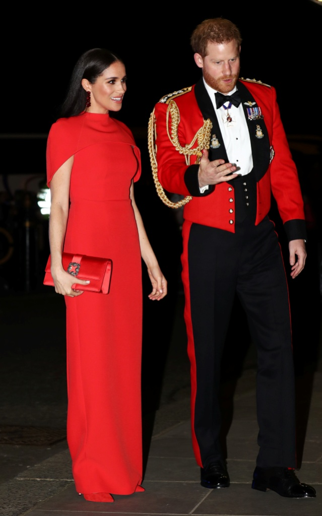 Meghan Markle Wears Long Red Dress With Cape With Husband Prince Harry in Dress Uniform