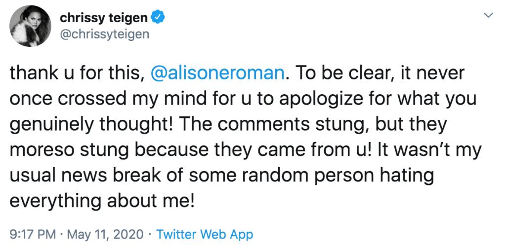 Chrissy Teigen Alison Roman Twitter