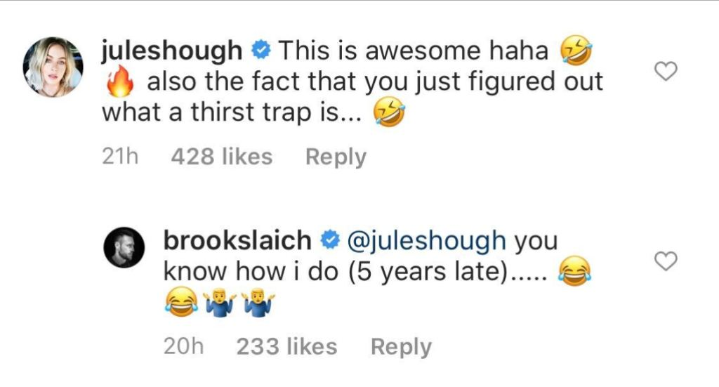 Julianne Hough Reacts to Husband Brooks Laich Thirst Trap Photo
