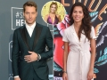 Inset Photo of Chrishell Stause Over Side-by-Side Photos of Justin Hartley and Sofia Pernas