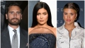 Scott Disick Wears Grey Suit Kylie Jenner Sparkly Navy Blue Strapless Oscars Gown Sofia Richie Wears White Zipper Jumpsuit
