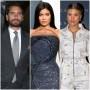 Scott Disick Wears Grey Suit Kylie Jenner Sparkly Navy Blue Strapless Oscars Gown Sofia Richie Wears White Zipper Jumpsuit
