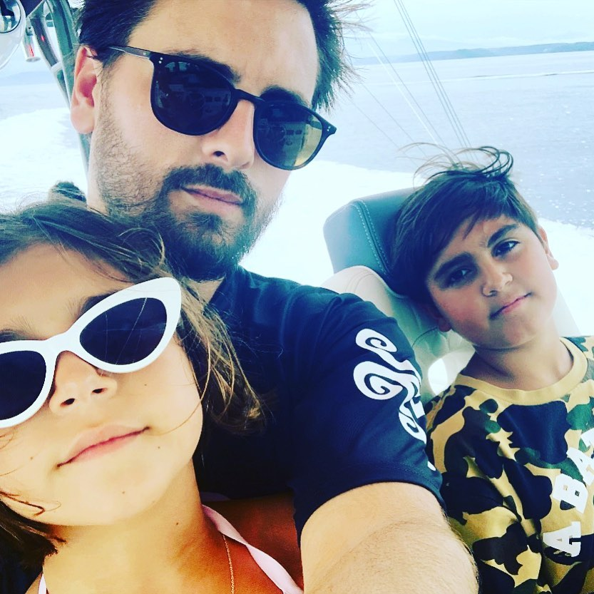 Scott Disick with Penelope and Mason