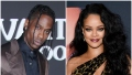 Travis Scott Wears Brown Silk Suit and Rihanna Wears Cheetah Print One Shoulder Dress With Big Curls