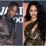 Travis Scott Wears Brown Silk Suit and Rihanna Wears Cheetah Print One Shoulder Dress With Big Curls