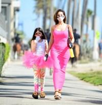 Farrah Abraham and daughter Sophia walk in matching pink tutu outfits