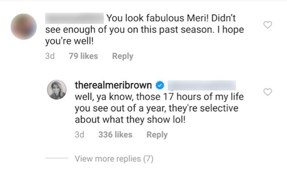 meri brown comment scenes season 14