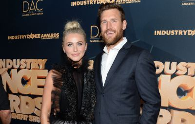 Julianne Hough Wears Short Silver Dress with Black Lace Collar and Hair Up With Husband Brooks Laich in Blue Suit