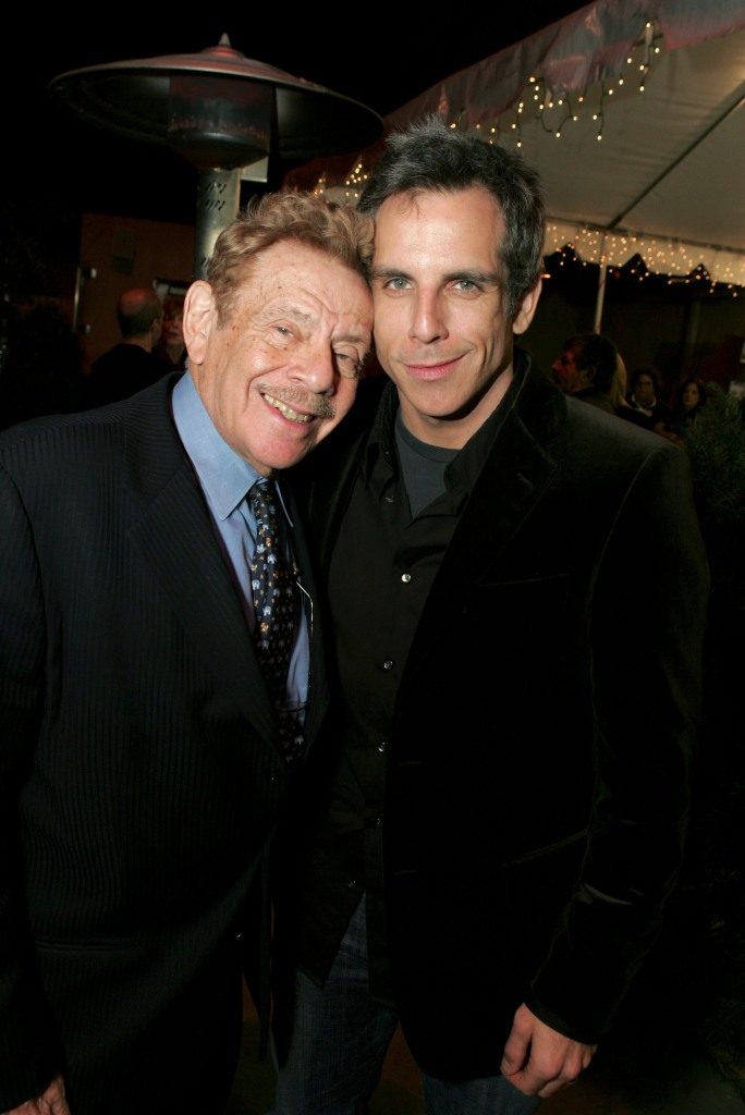 Actor and Comedian Jerry Stiller Smiles and Hugs Son Ben Stiller in Suits