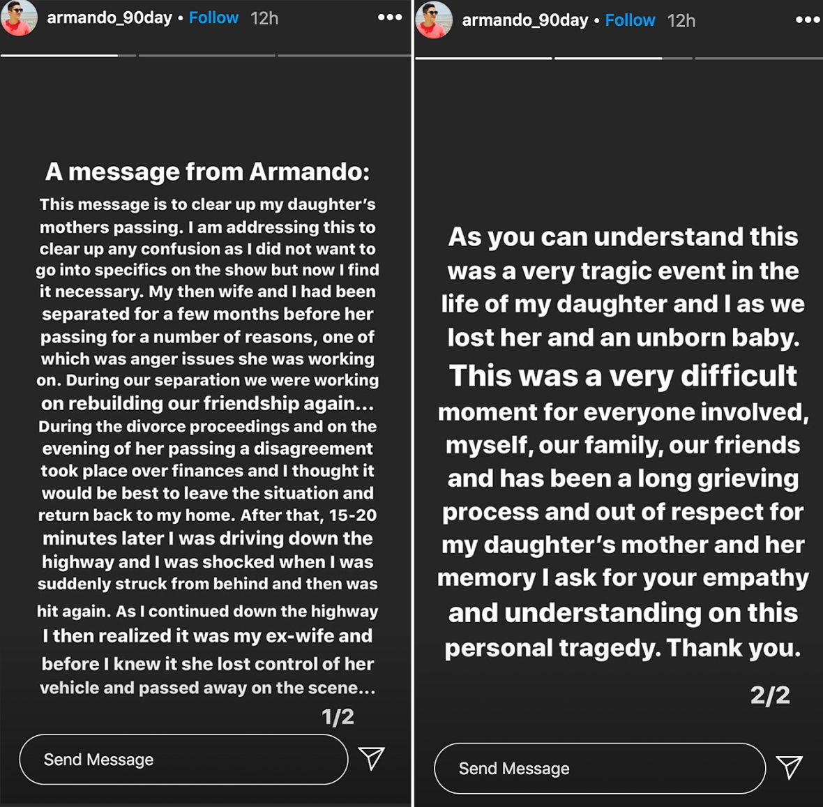 90 Day Fiance Armando Speaks Out About Wife and Unborn Baby Death