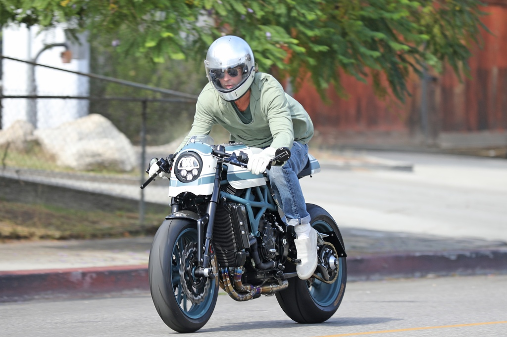 Brad Pitt Leaves Angelina Jolie's Home on Motorcycle