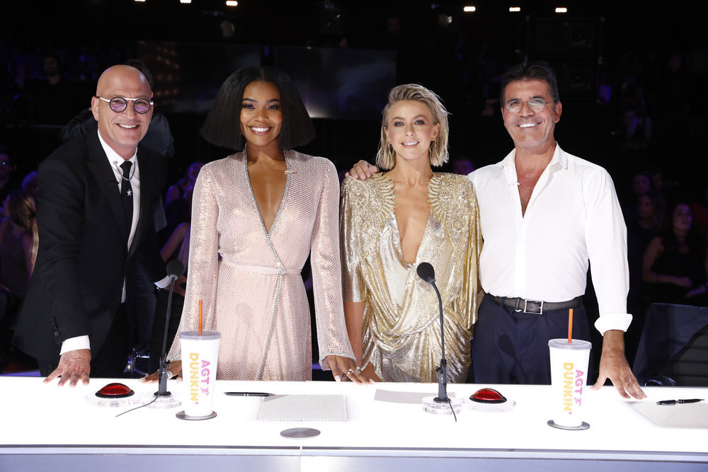 Howie Mandel, Gabrielle Union, Julianne Hough and Simon Cowell as Judges on America's Got Talent