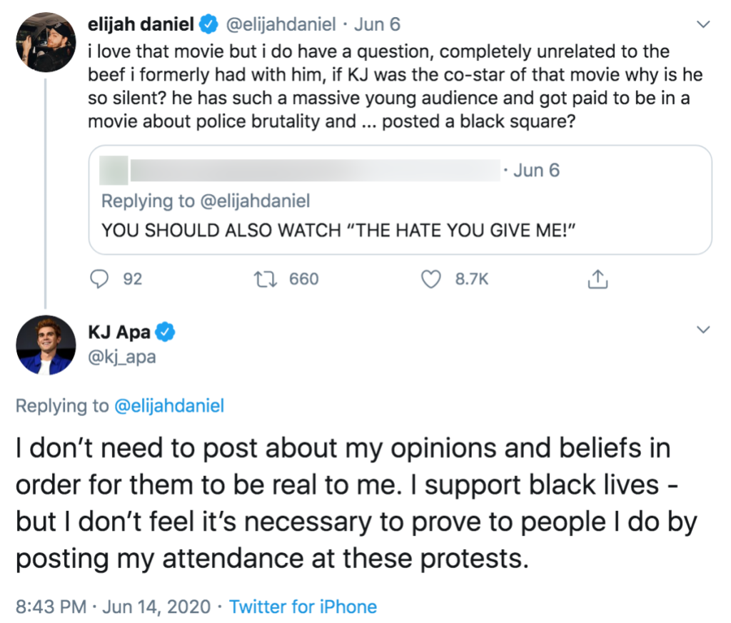Twitter Comedian Elijah Daniel Calls Out The Hate U Give Star KJ Apa For Staying Silent About Racism and Black Lives Matter