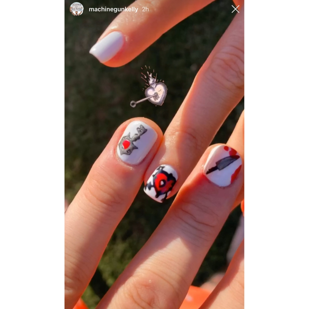 mgk-matching-manicures-with-megan-fox