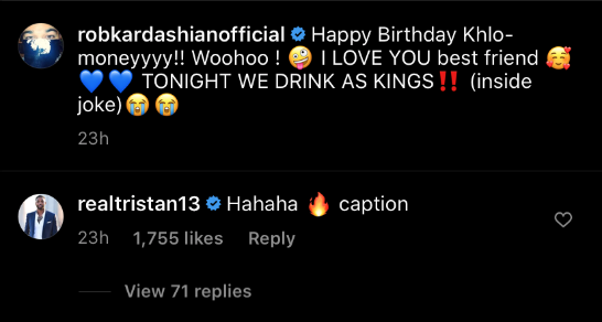 tristan thompson rob kardashian comment khloe birthday