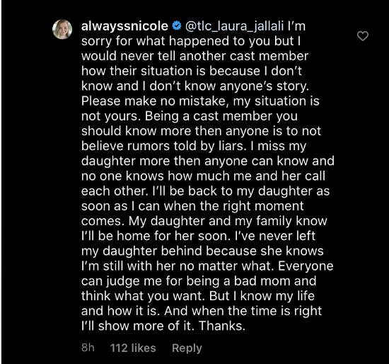90 day fiance nicole nafziger respond laura jallali comment azan may