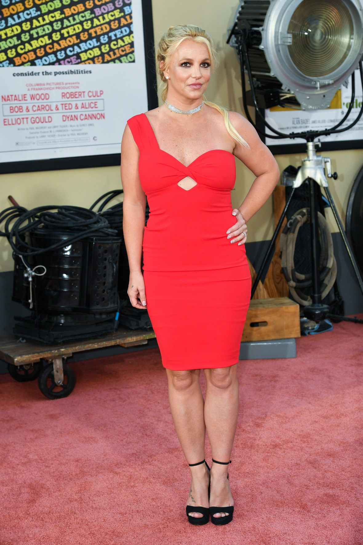 Britney Spears in Red Dress at Event