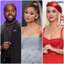 Kanye West in Black Blazer Ariana Grande Grey Puffy Gown Katy Perry Red Sparkly Hat