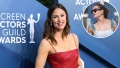 Inset Photo of Jennifer Garner at Beach Over Photo of Jennifer Garner on Red Carpet