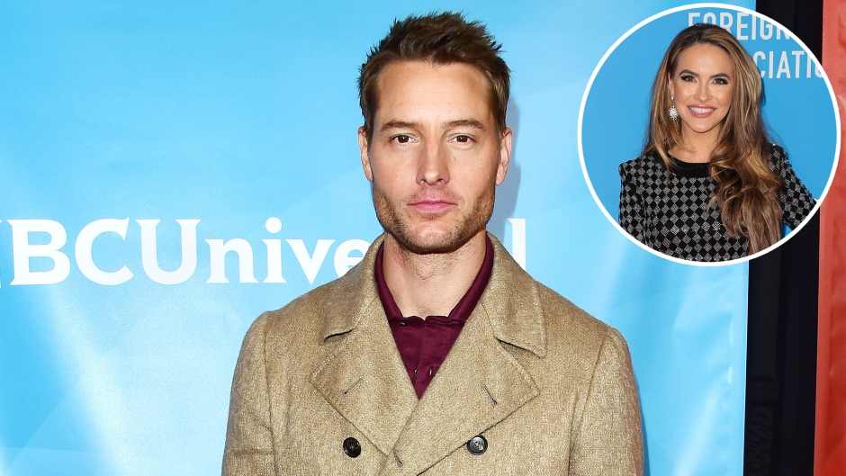 Inset Photo of Chrishell Stause Over Photo of Justin Hartley