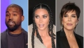 Kanye West Speaking on Stage Kim Kardashian With Braids Looking Serious Kris Jenner Looks Serious