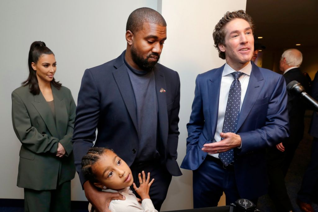 Kim Kardashian and Kanye West With Daughter North West and Joel Osteen