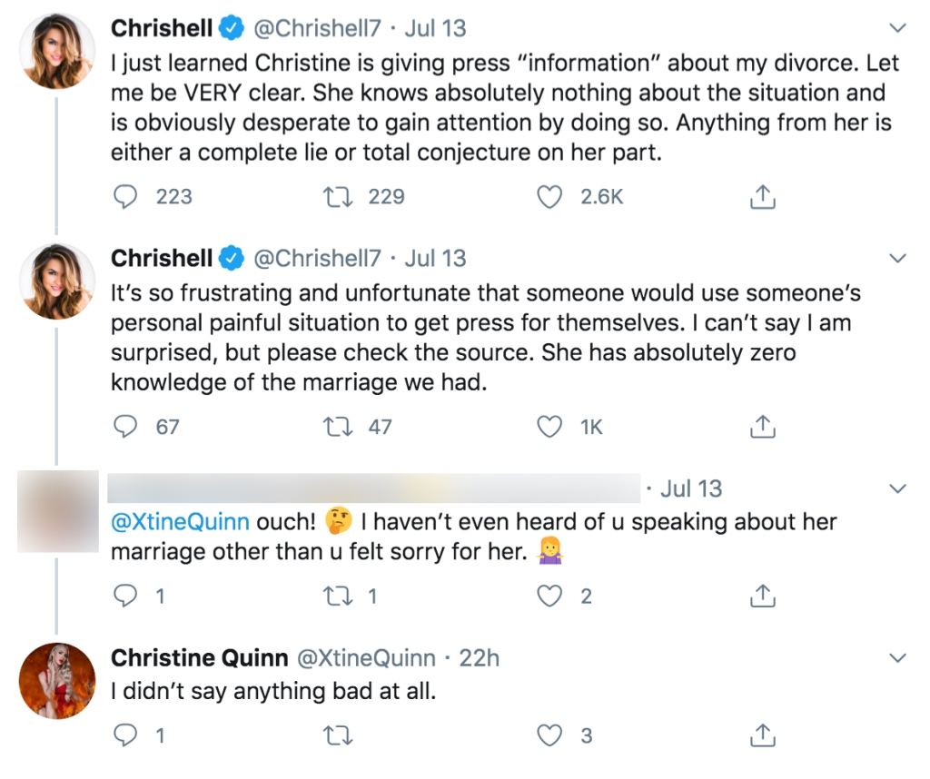 Selling Sunset Star Christine Quinn Responds to Chrishell Stause's Claims She Leaked Divorce Info About Justin Hartley to Press