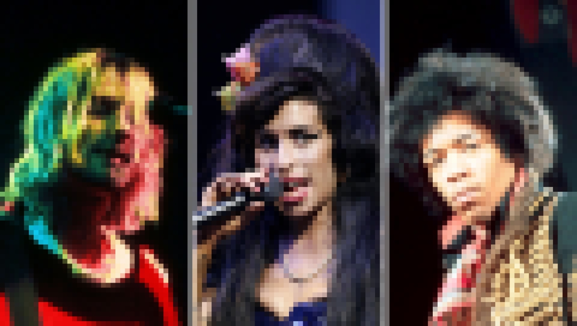 Side-by-Side Photos of Kurt Cobain, Amy Winehouse, Jimi Hendrix
