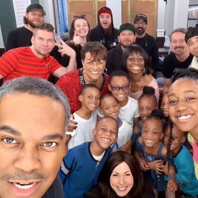 Doubling Down With the Derricos Cast and Crew Take a Selfie
