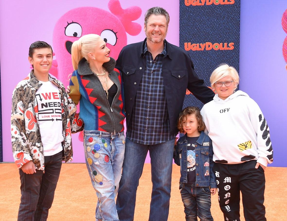 Gwen Stefani With Blake Shelton and Her boys
