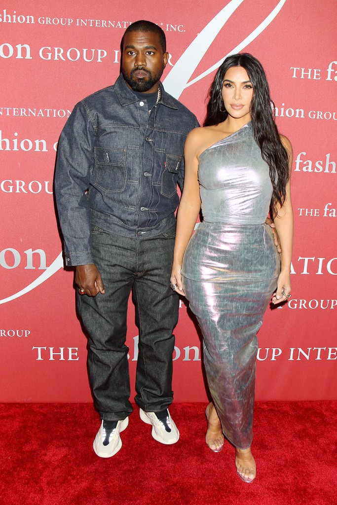 Kanye West Wears Denim Jumpsuit Kim Kardashian Wears Silver Hollographic One Sleeved Dress