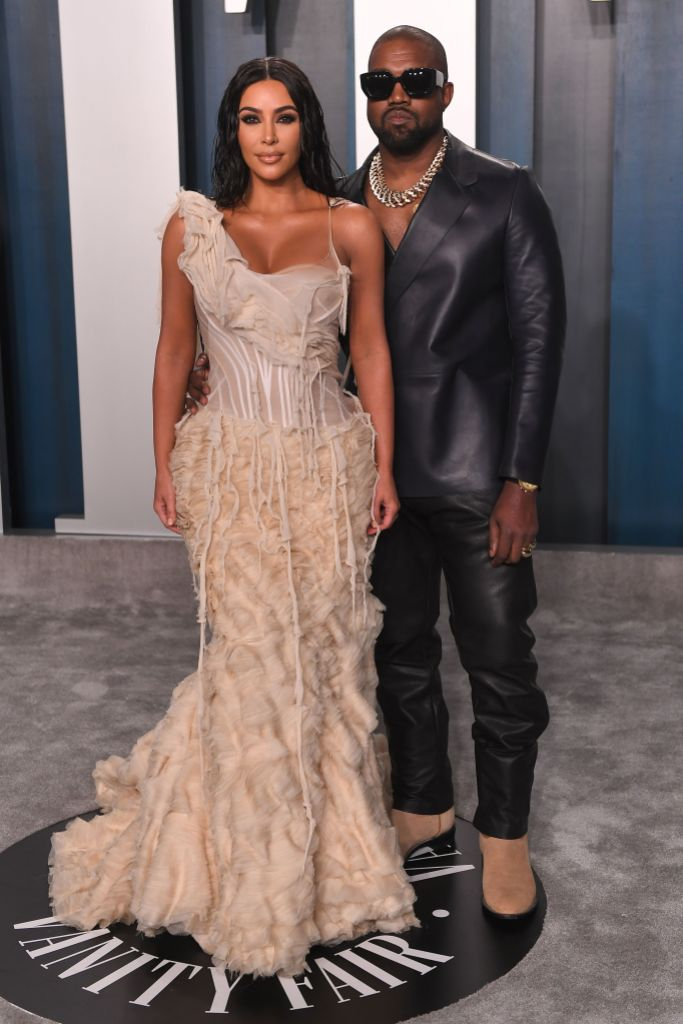 Kanye West and Kim Kardashian at Vanity Fair Oscars Afterparty