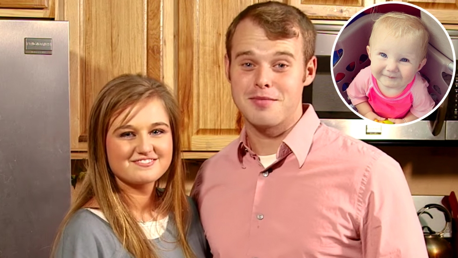 Inset Photo of Addison Duggar Without Life Jacket Over Photo of Joseph and Kendra Duggar