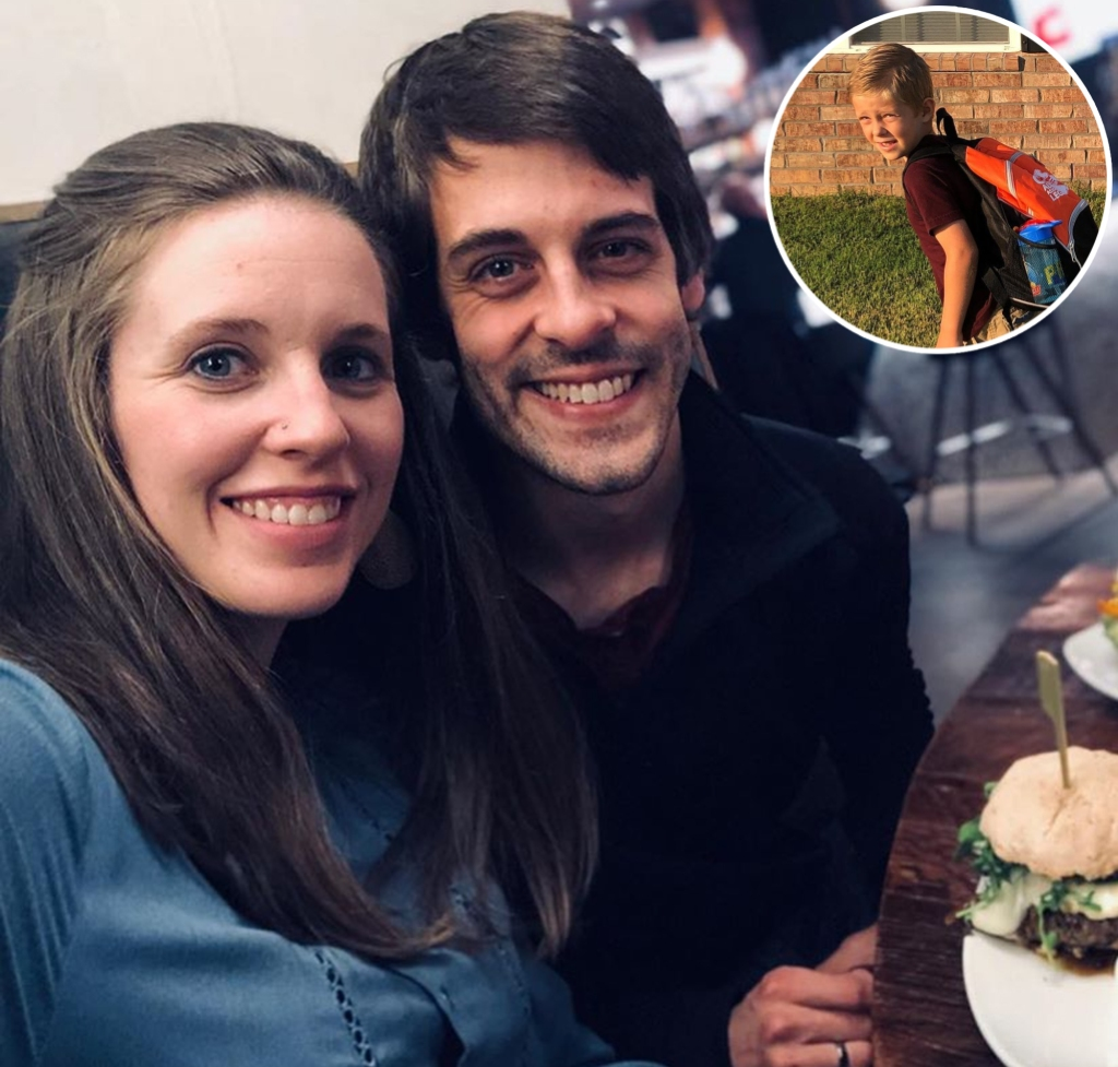 Inset Photo of Israel Dillard With Backpack on First Day of School Over Selfie of Jill Duggar and Husband Derick Dillard